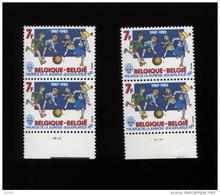Belgie 1982 Nr 2065 Scouts Baden Powell Plaatnummer 1&2 + Varieteit 'open Schoenveter' 2065-V (zegel Boven Plaat 1) MNH - Plaatfouten (Catalogus OCB)