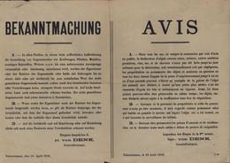 Guerre 14 18 Occupation Du Nord France Par Armée Allemande Affiche S/ Déclaration Animaux Vins Métaux... Valenciennes - Historical Documents