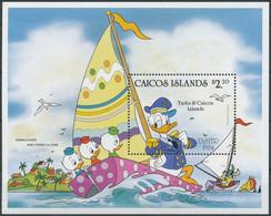 NB - [91431]SUP//**/Mnh-CAICOS ISLANDS - Walt Disney - Donald, Riri, Fifi Et Loulou Sur Bateau, B.D, Le Bloc De 2.20$ - Disney