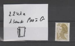 FRANCE / 1982 / Y&T N° 2241a ** : Liberté 80c Olive (1 Bande PHO à G) - Gomme Métropolitaine (= Brillante) X 1 - Varieties: 1980-89 Mint/hinged