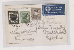 GREECE ITALY 1939 RODOS RODI Airmail Postcard To Germany - Brieven En Documenten