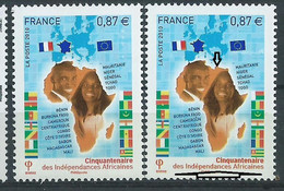 [47] Variété : N° 4496 Indépendances Africaines Jaune-orange Au Lieu D'orange + Normal ** - Abarten: 2010-.. Ungebraucht