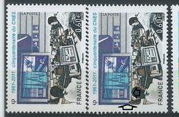 [47] Variété : N° 4604 CNES Grand écran Au Cadre Bleu Au Lieu De Bistre + Normal ** - Abarten: 2010-.. Ungebraucht