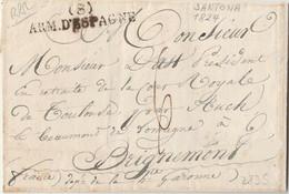 MARQUE D ARMEES - Marque (8) ARM D ESPAGNE Sur Lettre De 1824 - Armeestempel (vor 1900)