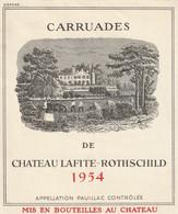 AB. Etiquette De Vins. CHATEAU LAFITE-ROTHSCHILD 1954 Carruades - Non Classés