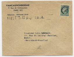 MAZELIN 90C PREO SEUL LETTRE + GRIFFE SUPPL 0.10 PAYE NUME POUR NANCY - 1945-47 Ceres De Mazelin