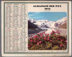 CALENDRIER GF 1972 - Fleurs Et Neige, Nîmes La Fontaine 30 Gard, Imprimeur Oberthur Rennes (calendrier Double) - Big : 1971-80