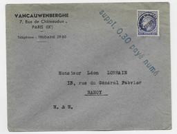 MAZELIN 60C PREO SEUL LETTRE + GRIFFE SUPPL 0.30 PAYE NUME POUR NANCY - 1945-47 Ceres De Mazelin