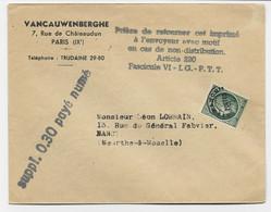 MAZELIN 90C PREO SEUL LETTRE + GRIFFE SUPPL 0.30 PAYE NUME POUR NANCY - 1945-47 Ceres De Mazelin