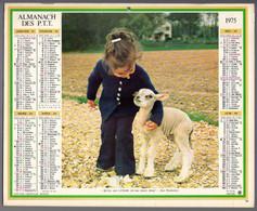 CALENDRIER GF 1975 - Chatons Et Agneau, Imprimeur Oberthur Rennes (calendrier Double) - Big : 1971-80