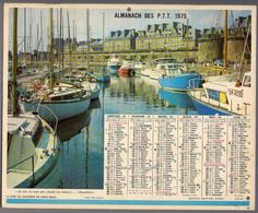 CALENDRIER GF 1975 - Port De St Malo 35 Ile&V, Cathédrale Albi 81 Tarn, Imprimeur Oberthur Rennes (calendrier Double) - Big : 1971-80