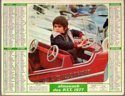 CALENDRIER GF 1977 - Enfant & Chat, Manège Auto-tampon Incendie Et Enfant, Imprimeur Oller (calendrier Double) - Big : 1971-80