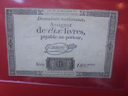 FRANCE 10 LIVRES 1791 Circuler - Assignats & Mandats Territoriaux