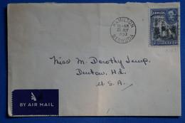 P6  BERMUDA BELLE LETTRE 1953  PAR AVION  POUR USA DENTON  + AFFRANCH. PLAISANT - Bermuda