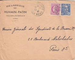 Lettre à Entête (Brasserie Humain Patin) Obl Villers Outreaux Le 20/10/47 Sur 4F50 Gandon, 1F50 Mazelin (T 8/7/47) - Cartas