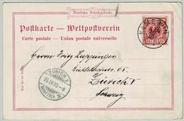 Kamerun 1900, Postkarte Weltpostverein Deutsche Schutzgebiete Von Kamerun Nach Zürich (Schweiz) - Colony: Cameroun
