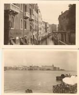 Lot De 2 Photographies D'Italie, Venezia / Venise, Pensione Seguso Rio Di S. Vio + Vue Du Canal Giudecca, Ca 1930 - Places