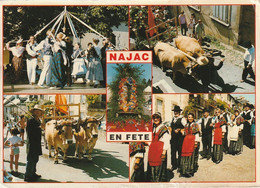 WA 26-(12) NAJAC - FETE POUR LA ST BARTHELEMY - MULTIVUES COULEURS : ATTELAGE  BOEUFS , DANSES , TENUES TRADITIONNELLES - Najac