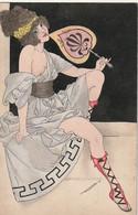 XU 6- PORTRAIT DE FEMME HELLENIQUE SEIN NU , SANDALES SPARTIATES ET EVENTAIL - ILLUSTRATEUR  A. BLAY - Other Illustrators