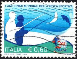 ITALIA, ITALY, ITALIE, CAMPIONATI MONDIALI PESCA SPORTIVA, 2011, 0,60 €, FRANCOBOLLO USATO Mi.: IT 3478  Scott: IT 3089 - 2011-...: Usados