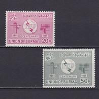 BURMA 1965, Sc # 188-189, ITU, MH - Myanmar (Burma 1948-...)