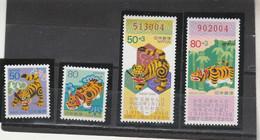 Japon 1997 Yvert  2383 Et 2384 + 2385 Et 2386  ** Neufs Sans Charnière - Nouvel An Année Du Tigre - Nuovi