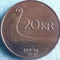 NOORWEGEN : 20 KRONE 1994 KM 453 UNC - Norway