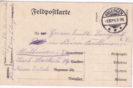 INCORPORE ALSACIEN ARMEE ALLEMANDE - 1914 - CP FELDPOST De ELS. LANDSTURMBATAILLON (BAT. ALSACIEN) à KROZINGEN - Alsace Lorraine