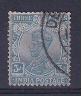 India: 1926/33   KGV      SG209w    3a   Blue   [Wmk Inverted]  Used - 1911-35 King George V