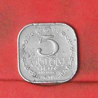 SRI LANKA 5 CENTS 1978 -    KM# 139a - (Nº41882) - Sri Lanka