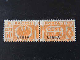 """ITALIA Colonie Libia Pacchi-1931- """"Fasci"""" C. 50 Soprastampa Modificata Mm. 8,5 MNH** (descrizione) - Libya"""