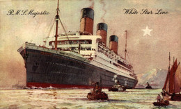 R.M.S MAJESTIC - CUNARD WHITE STAR LINE  Ship Navy Navire Boat - Steamers