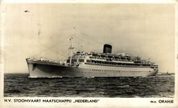 """N.V.Stoomvaart Maatschappij """"Nederlland"""" M.s. Oranje  Ship Navy Navire Boat - Steamers"""