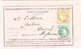 Ceres N°53 55 Derval Loire Atlantique Aout 1876 Chargé Rouge La Turballe - 1849-1876: Klassik