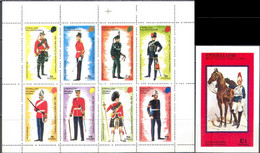 3476 ✅ Militaria Hussars Horses Military Uniform 1973 Eynhallow Sheet+S/s MNH ** FV 1.7£ - Militaria
