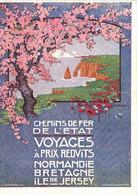 Illustrateur CHEMIN DE FER DE L'ETAT  VOYAGES A PRIX REDUITS  NORMANDIE  BRETAGNE  ILE De JERSEY  RV - Pubblicitari