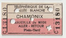 Ticket     Telephérique De La Vallée Blanche (74)   Chamonix Aiguille Midi AR   Plein Tarif   1959 - Other