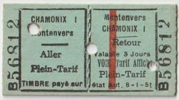 Ticket     TMB  Chamonix Montenvers (74)    AR   Plein Tarif   1959 - Other