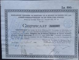 CIRCUM ETNEA SPOORWEG ( Italië)  Ned Cert. 1899 Soc. Sisiliana Di Lavori Pubblici - Ferrocarril & Tranvías
