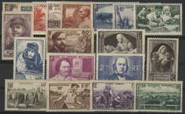 1940 ANNEE COMPLETE N° 451 à 469 Neufs ** (MNH) Soit 19 Timbres Cote 207 € . TB - 1940-1949