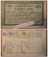 Warrant à Ordre 1933 Docks & Entrepôts De CAMBRAI - Sucrerie Sacs Sucre Blanc Indigène - Timbres Fiscaux - Rare Titre - Other