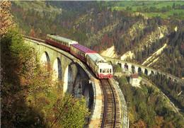 Train à Morbier Viaduc Des Crottes Train St Claude Dijon Composé D'un X 3800 D'une XR Et D'un X 2800 RV - Other Municipalities