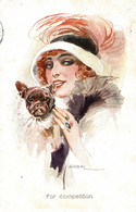 CPA L. USABAL - Donnina, Femme, Lady - Bulldog Francese, Bouledogue Français, French Bulldog - Moda, Mode - VG - U023 - Usabal