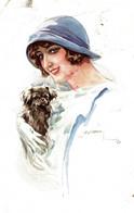 CPA L. USABAL - Donnina, Femme, Lady - Cane Pechinese, Chien Pékinois, Pekingese Dog - Moda, Mode - VG - U024 - Usabal