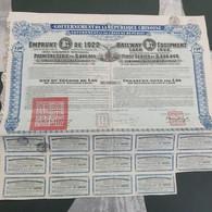 Chine: Railway Bon Du Trésor De L 20 Ou Francs Belges 1200  Gouvernement De La République Chinoise   DE 1922 +CERTIFICAT - Other