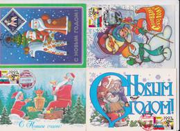 Russie Urss Russia Cccp - Carte-Maximum Père Noël Lot De 4 Cartes Maximum Card Santa Claus - Christmas