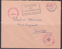 Lettre Avec Cachets Militaires, Flamme Le Havre 1967  (ref L A192) - Bolli Militari A Partire Dal 1940 (fuori Dal Periodo Di Guerra)