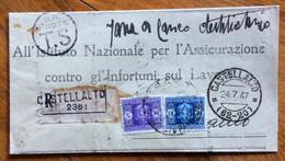 CASTELLALTO Lineare+ CASTELLALTO *(62-20)* 24/7/47 Racc. TASSATA A TERAMO  5+10 L. (Luogotenenza) - Marcophilia