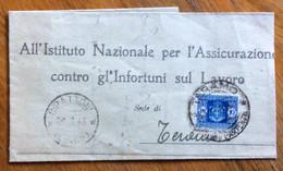 RIPATTONI (62-89)* 29/3/48  SU DENUNCIA INFORTUNIO  TASSATA A TERAMO 10 L. (Luogotenenza) - Marcophilia