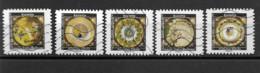 """France 2019  Oblitéré Autoadhésif  N°  1780 - 1782 - 1783 - 1784 - 1787  """"  Aux Pays Des Merveilles """"  Assiette - Adhesive Stamps"""